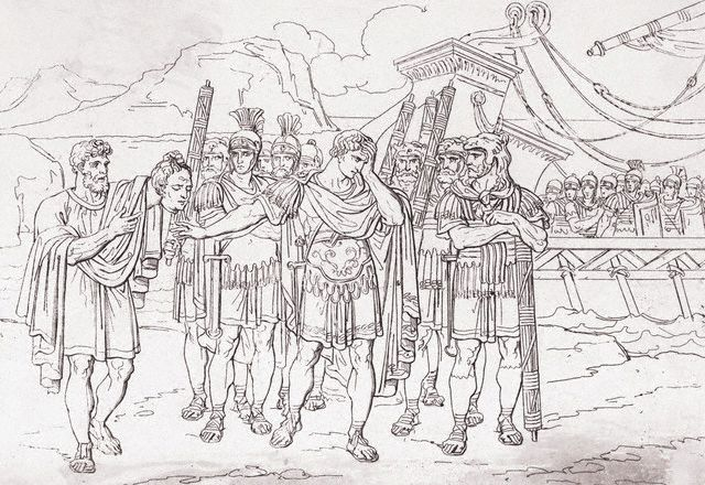 Julius Caesar Aghast at Soldier Holding Pompey's Head