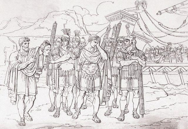 Julius Caesar Aghast at Soldier Holding Pompey's Head
