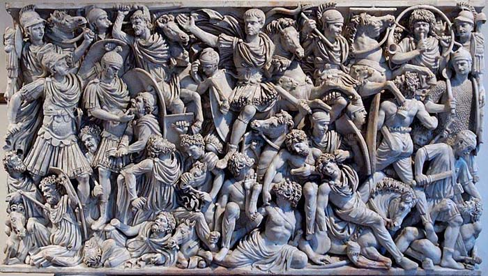 Roman-soldiers-battling-Gothic-troops-as-depicted-on-a-contemporary-Roman-sarcophagus-c.-250-AD-National-Museum-Rome