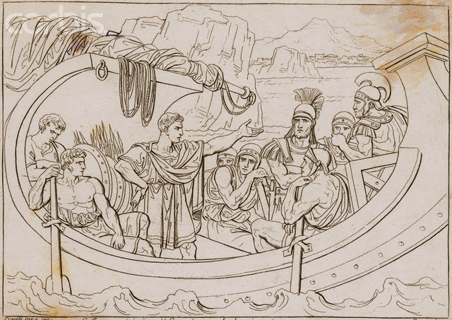Julius Caesar in Boat with Pirates